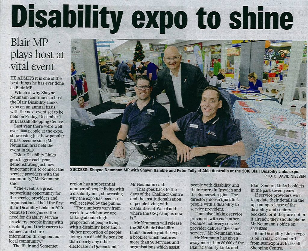 171004 - Blair Disability Links - Ipswich Advertiser